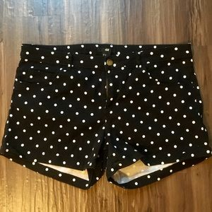 Black and white polka dot shorts